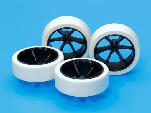 """1/32 Hard Large Diameter Low Height Tire & Carbon Reinforced 6 Spoke Wheel """"Mini 4WD Upgrade Parts Series"""" Mini 4WD Special Project [95371]"""