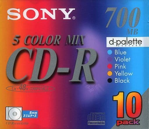 Sony data CD-R 5 COLOR MIX 700MB 10 sheets pack [10CDQ80EXS]