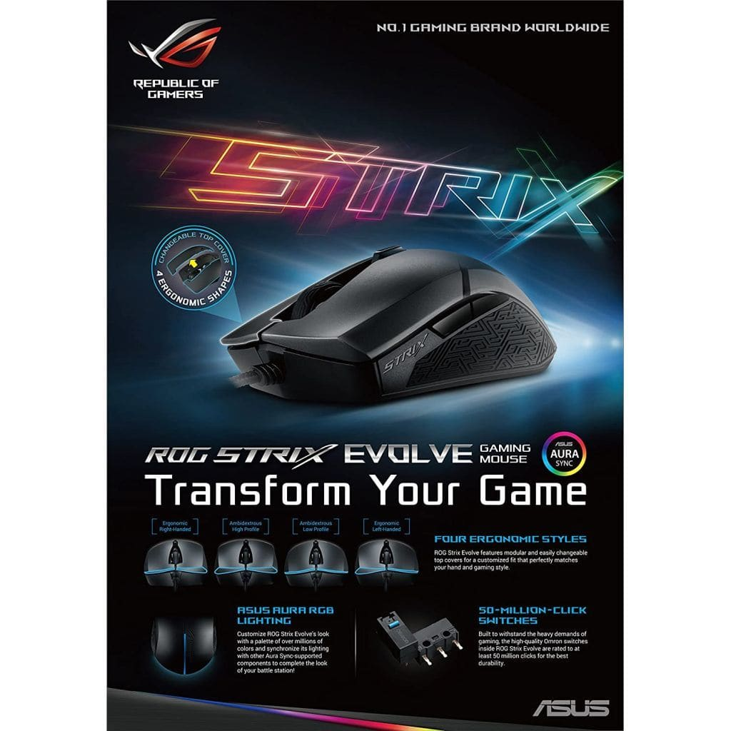 Wired gaming mouse ROG STRIX EVOLVE (black) [P. 302 ROG STRIX EVOLVE]