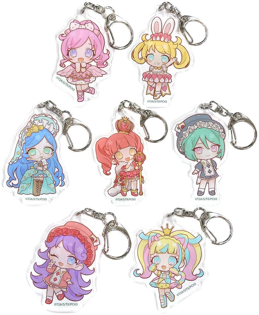 Set of 7 Types 「 Kiratto Pri Chan Acrylic Key Holder 06. Wonderland ver. Mini Character 」