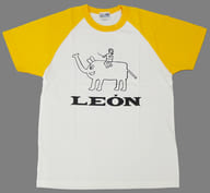 """Dream of riding Leon's elephant T-shirt White x Yellow M size """"AR performers KICK A'LIVE"""""""