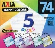 AXIA Recording Mini Disc HAPPY COLORS 74 min. 5-Pack Pack [MDHC M74X 5 p]
