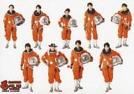 "Meeting (9 people) / Horizontal / Whole body / Costume Orange / Helmet / White background / ""Meijiza sits at the end of the year-Fair-It's the end of the year! Everyone gathers!!-"" A seat ticket purchase bonus daily bromide"