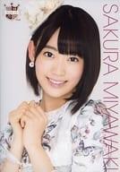 Saki Miyawaki / Bust Up, Costume White Pink, Floral / AKB48 CAFE & SHOP Limited A4 Size Raw Photo Poster 69th